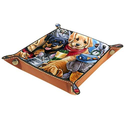 Bandeja de Valet, colección de Cuero de PU, Organizador de bandejas, Caja de Almacenamiento para Relojes, Joyas, Monedas, Billetera para Llaves, Familia para Mascotas