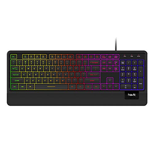 Havit Wired Keyboard, USB Quiet Backlit Computer Keyboard Ergonomic LED Gaming Keyboards Wrist Rest 104 Keys for Office PC Desktop Laptop Game Black