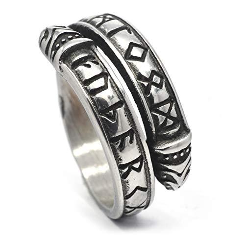 Gungneer - Anello in acciaio INOX con rune vichinghe, con cerchio Jormungand Ouroboros, da uomo e da donna e Acciaio inossidabile, 7