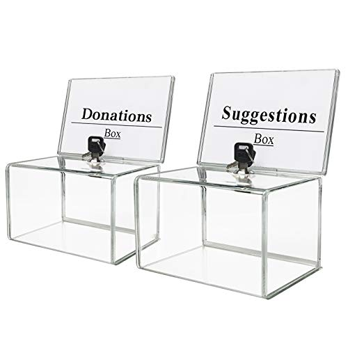 """KYODOLED Acrylic Donation Box with Lock,Ballot Box with Sign Holder,Suggestion Box Storage Container for Voting, Raffle Box,Tip Jar 6.1"""" x 4.3"""" x 3.8"""",2 Pack"""