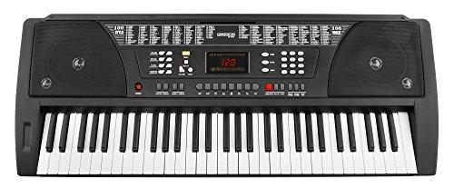 Funkey 61 BK Tasten Keyboard Schwarz (100 Klangfarben, 100 Begleitrhythmen, Lernfunktion, Cinch-Ausgang, Netzteil, Notenständer)