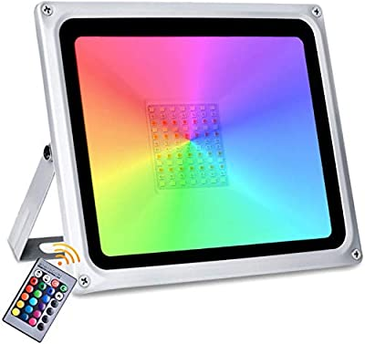 100W Led RGB Flood Light, 16 Colors Changing Outdoor Spotlight with Remote Control, 8000LM IP65 Waterproof Wall Washer Light, 4 Modes Dimmable Stage Lighting for Disco, Bar, Club, Party,