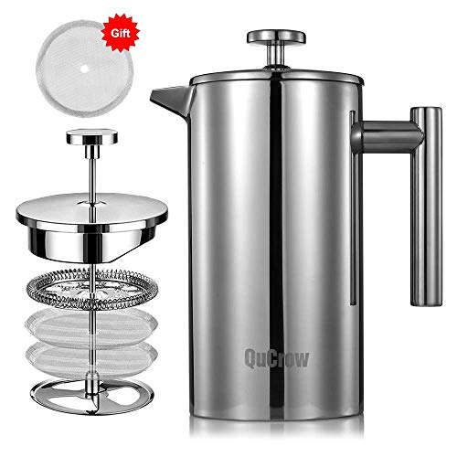 QuCrow French Press Coffee Maker 1810 Stainless Steel Coffee Press Double Wall Insulated French Press with 2pcs Bonus Screen 34 fl oz 1 Liter