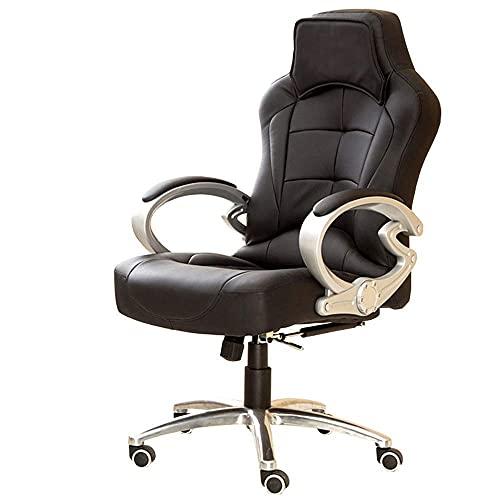 N&O Renovation House Swivel Executive High Back Pu 155 deg Tilting Boss Computer Racing Fixed Armrest for Home Office Game Black