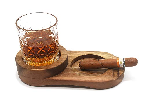 Rustic Wooden Cigar Ashtray, Whiskey Glass Tray With Cigar Holder, Slot to Hold Cigar, Whiskey Accessory Set, A Great Decor for Home, Office or Bar,Father's Day Gift for Dad, Presents for Husband
