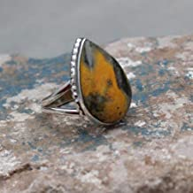 Statement Ring, 925 Sterling Silver Gergeous Natural Bumble Bee Jasper Ring Jewelry, Mother's Day Gift for Mamma