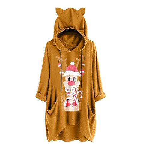 Dosoop Womens Christmas Hoodie Sweatshirts Casual Tunic Tops Hooded Long Sleeve Xmas Reindeer Print T Shirts with Pockets