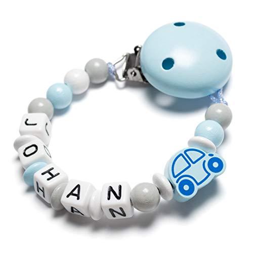 Schnullerkette mit Namen - Auto, Herz, Eule, Wolke, Stern für Mädchen und Jungen (Auto, hellblau)