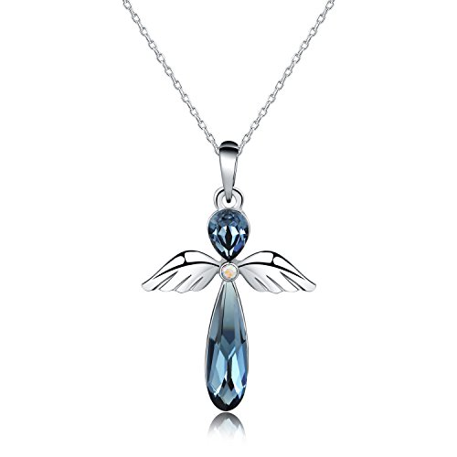 """HERMOSO Guardian Angel Pendant necklace for women, Made with Swarovski Crystal,Platinum plating jewellery chain 16""""+2' (Blue)"""