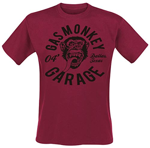 Gas Monkey Garage Monkey Mechanic Männer T-Shirt rot L 100% Baumwolle Fan-Merch, Rockabilly, TV-Serien