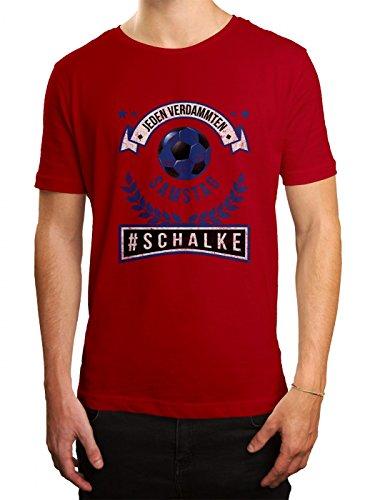 Schalke #1 Premium T-Shirt   Fussball   Fan-Trikot   #jeden-verdammten-Samstag   Herren   Shirt, Farbe:Rot (Red L190);Größe:XL