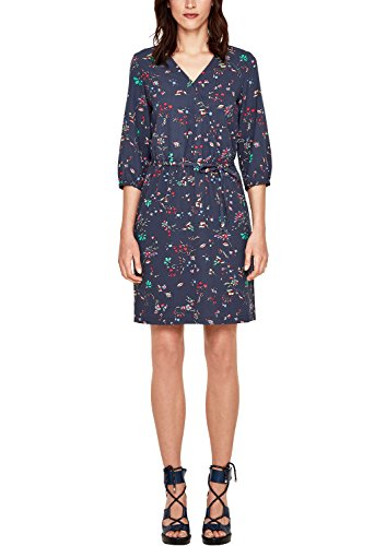 s.Oliver Damen 14.803.82.7786 Kleid, Blau (Dark Steel Blue AOP 58b6), 42