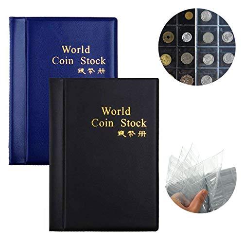 BESTZY Libro de Colección de Album Monedas Coleccion 120 Bolsillos Nuevas Colecciones de titulares de Money Collection(Negro + Azul)