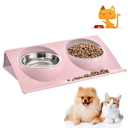 WELLXUNK® utternapf Katze, Doppelter Fressnapf Katze, Katzennäpf Edelstahl rutschfest, Futternäpfe Katzenfutter, Edelstahl Katzen Napfset, Futterschüssel Katze für Katze Welpe Futter Wass