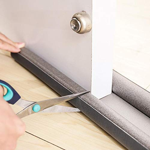 Zugluftstopper für Türen in grau - Zuschneidbar - Doppelseitige Schutz vor Zugluft - Türdichtung