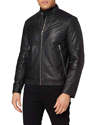 HUGO Mens Loscar Leather Jacket, Black (1), M