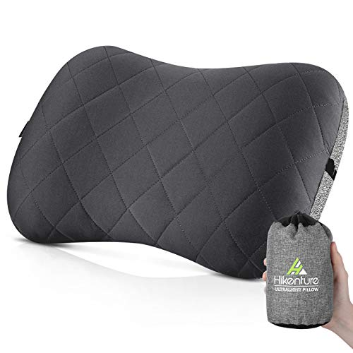 Hikenture Camping Pillow with Removable Cover - Ultralight Inflatable Pillow for Neck Lumber Support - Upgrade Backpacking Pillow - Washable Travel Air Pillows for Camping,Hiking, Backpacking, Gray