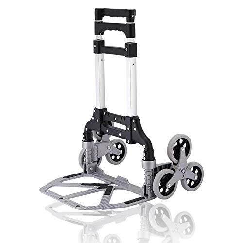 moxin Einkaufstrolley Treppen Klettern Shipping Trolley mit Noiseless Gummi Tri-Wheels, zum Mitnehmen von Reis, Nudeln, Wasser,Black