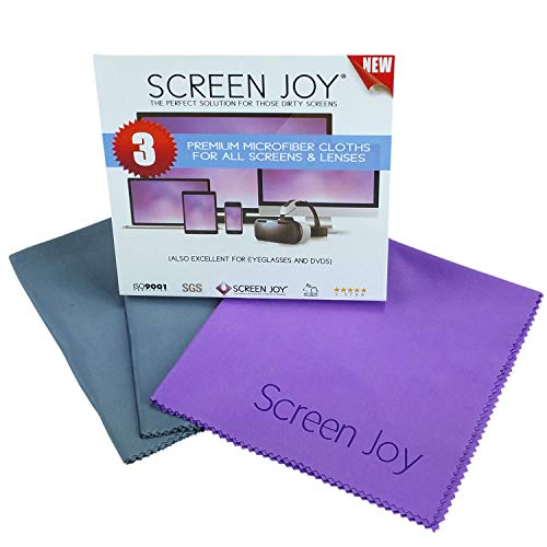 Screen Joy Screen Cleaning Cloths - 3 Large Microfiber Cloths Wonderful for Lenses, Eyeglasses, Flat Screen TVs, Laptops, Tablets, ALL Smartphones and Much More - 3 Pack Large (12x12 inch)