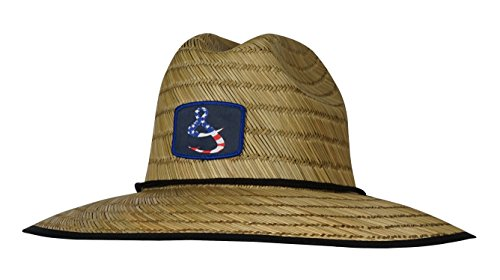 Hook & Tackle Men's American Lifeguard Fishing Stretch Fit Straw Hat Natural Medium/Large
