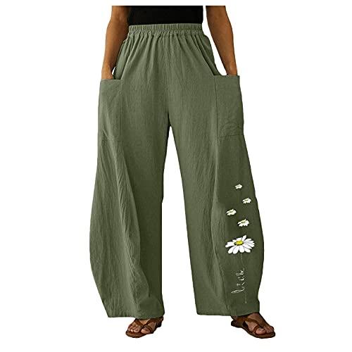 Damen Baggy Hose mit Taschen Leinen Baumwolle Haremshose Schmetterlings/Gänseblümchen Druck Lockere Sommerhose Weites Bein Hose