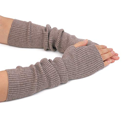 Flammi Women's Knit Arm Warmer Gloves Warm Cashmere Long Fingerless Mittens with Thumb Hole (Camel)