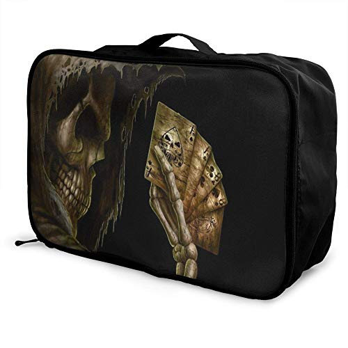 Skull Paable Travel Duffel Bag Folle Carry Storage Lage Tote Lightweight Large Caity Portable Lage Bag for Suitcase Trolley Handles