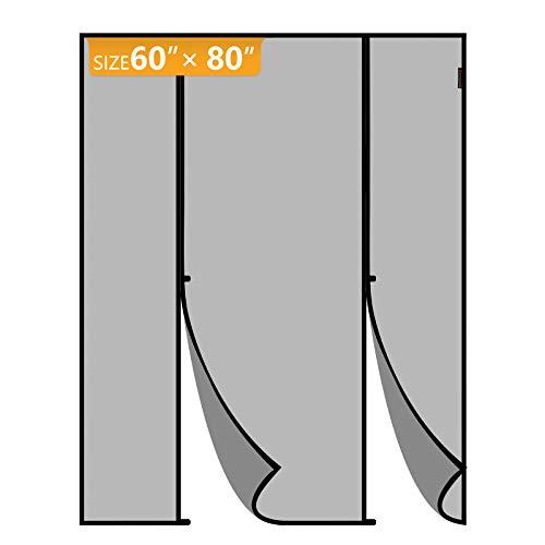 Yotache Magnetic Screen Door Fits Door Size 60 x 80, Double Door Screen Curtain for Sliding Door Fit Doors Size Up to 60'W x 80'H Max Keep Fly Bug Out