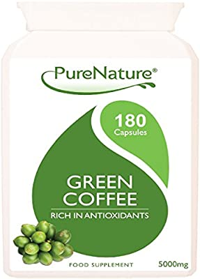 180 Pure Green Coffee Bean Extract Premium Quality Maximum Strength 15000mg Daily & 50% GCA as Recommended by Dr Oz and Over 6 Times Stronger than Other Brands Suitable for Vegetarians FREE UK Delivery by Distributed by Be-Beautiful-Online