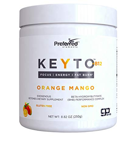 Keto BHB Salts Exogenous Ketones - Beta-Hydroxybutyrate Supplement Powder & Vitamin B12 for Mental Clarity, Energy and Fat Burn - Orange Mango KEYTO by Preferred Elements
