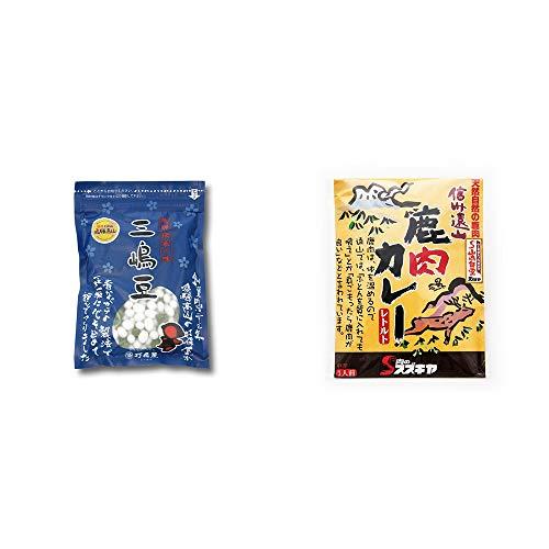 [2点セット] 飛騨 打保屋 駄菓子 三嶋豆(150g)・信州遠山 鹿肉カレー 中辛 (1食分)