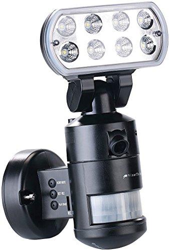 VisorTech Überwachung: HD-IP-Kamera m. LED-Flutlicht, 8 W, Bewegungsverfolgung, SD-Aufz, App (Aussenleuchte mit Funkkamera)