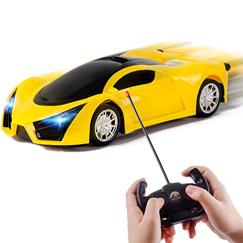 Refasy Remote Control Car for Boys 8-12,RC Cars Racing Vehicle Toys for Kids Hobby Toy RC Drift Cars for Boys Girls Kids Toys Best Birthday Gifts Electric Cars with Led Lights for Kids Yellow