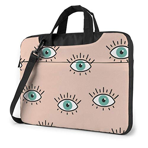 15.6 inch Laptop Shoulder Briefcase Messenger Green Eyes with Long Eyelashes Tablet Bussiness Carrying Handbag Case Sleeve