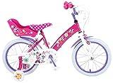 Disney Bicicleta Niña Minnie Mouse 16 Pulgadas Frenos al Manillar Ruedas Extraíbles la Cesta y Asiento Trasero de la Muñeca Rosa 85% Montado