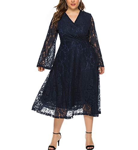 Eternatastic Womens Vintage Floral Lace Bridesmaid Dress V-Neck Wedding Party Midi Dress XXL Dblue (Apparel)