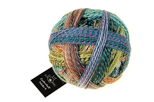 Schoppel Zauberball Stärke 6, Farbe 2355 - Gartenparty, 150 Gramm, Bunte, Dicke Sockenwolle 6-fädig mit Farbverlauf, Socken Stricken, häkeln