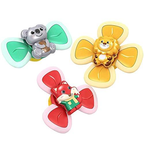 Juguete giratorio de baño de bebé, 3 piezas de juguetes de baño de bebé, dibujos animados, con ventosas giratorias, para comer sillas de comedor, juguetes de baño para niños y bebés