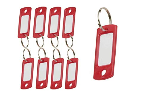 """Lucky Line Flexible Colored Plastic Key Tag with 3/4"""" Split Ring in Red, 50 Tags (16970)"""