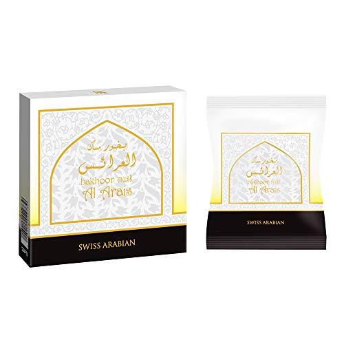 Musk Al Arais Bakhoor Incense 40g | Home Use with Electric/Charcoal Burner (Mabkhara) | Traditional & Long Lasting Middle East Quality Organic Resin | by Swiss Arabian Oudh Perfume & Attar, Dubai