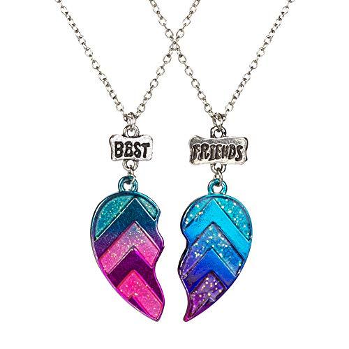 Best Friends Half Heart Pendant Necklace for Children, Kid's Best Friend Jewelry,Friendship Gift Girls BFF Necklaces-Love