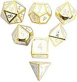 DND Polyhedral Metal Game Dice Gold White 7pc Set...