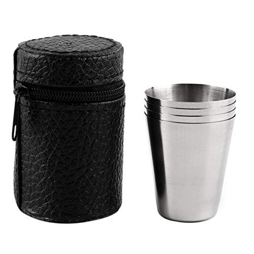 LIGH Juego de 4 Tazas de Acero Inoxidable con Tapa para Acampar Taza para Beber café, té, Cerveza con Estuche, Ideal para Acampar, Vacaciones, Picnic, Plateado