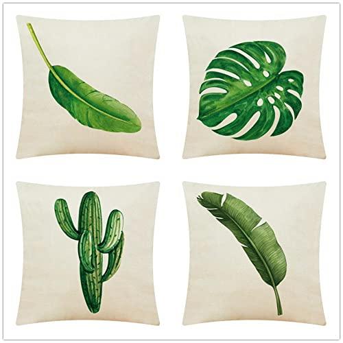 Fundas de Cojines Sofa Hojas Verdes Tropicales Algodón de Lino Suave Cojines Decoracion Hogar Cushion Covers para Salón Cama Coche Dormitorio Funda de Almohada Juego de 4 T2021 50x50cm/20x20inch