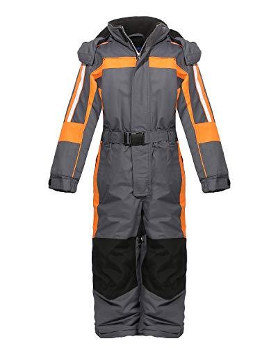 PM Kinder Outdoor Skianzug Snowboard Unisex Jungen Mädchen Funktionsanzug Hardshell Schneeanzug Winter LB1226 grau/orange 140