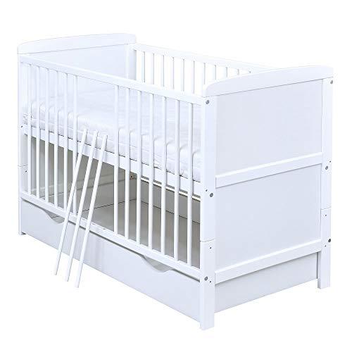 Baby Delux Babybett Kinderbett umbaubar zum Juniorbett Natalie 140x70 Weiß Schublade Matratze (mit Kokos-Buchweizen Matratze 9 cm)
