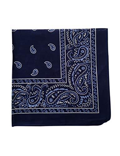 Bestgift Men's Paisley Print Head Wrap Scarf Wristband Bandana One Size Black+Blue