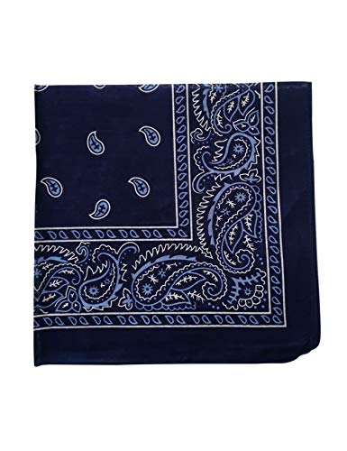 Bestgift Men's Paisley Print Head Wrap Scarf Wristband Bandana One Size Black+Blue