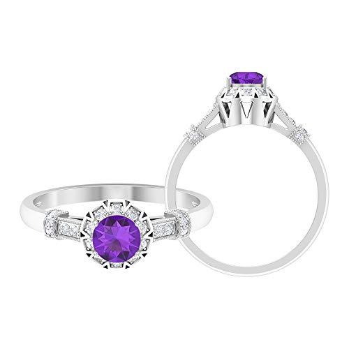 Anillo de amatista de 5 mm, anillo de diamante HI-SI, anillo de compromiso Art Déco, anillo solitario con piedras laterales, oro de 10 quilates morado