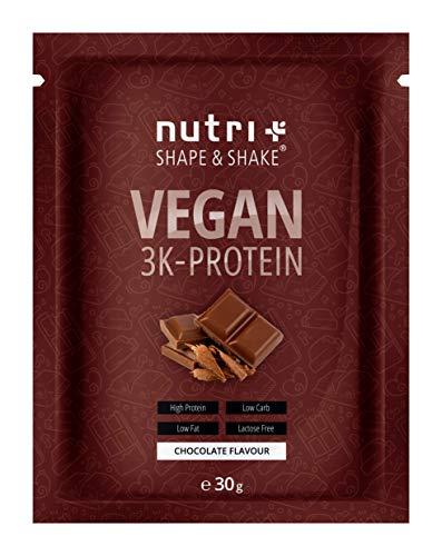 PROTEINPULVER VEGAN Schokolade 30g Probe - 80,2% Eiweiß - Shape & Shake 3k-Protein Chocolate Powder - Veganes Eiweißpulver Schoko Probiergröße